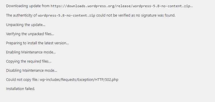 WordPress Could Not Copy File Installation Failed